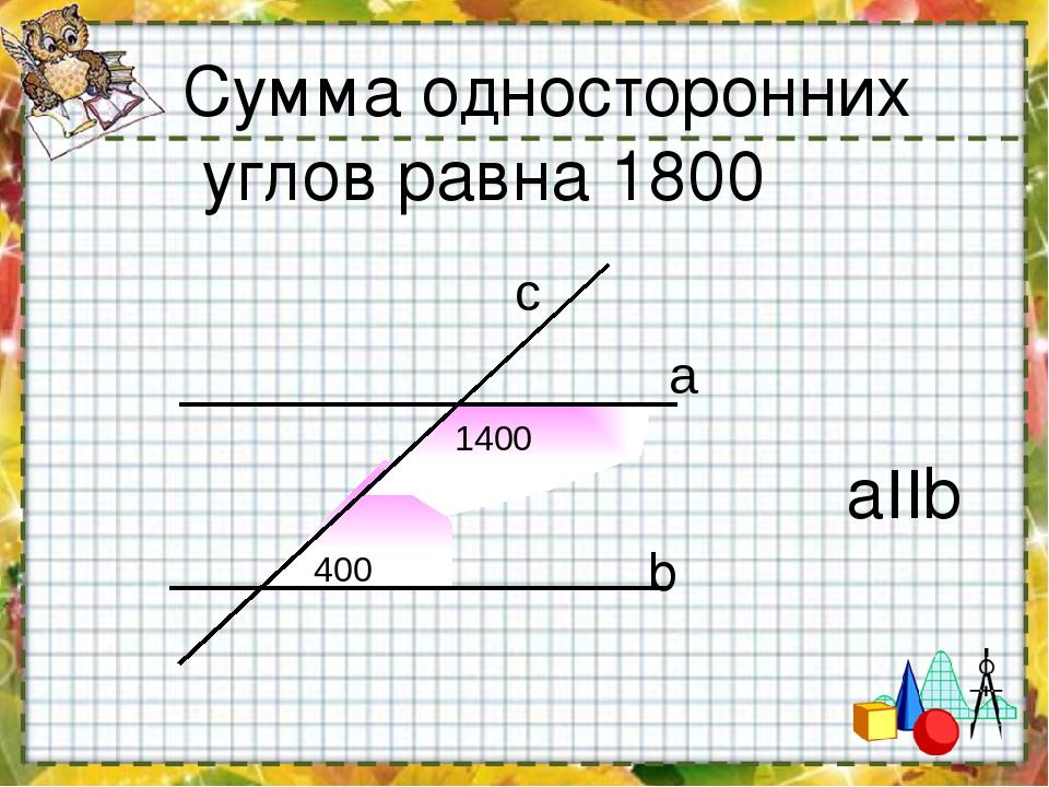 Сумма односторонних углов равна 1800 b aIIb 400 1400 a c
