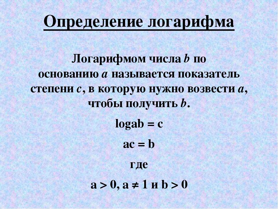 Определение логарифма Логарифмом числаbпо основаниюаназывается показатель...