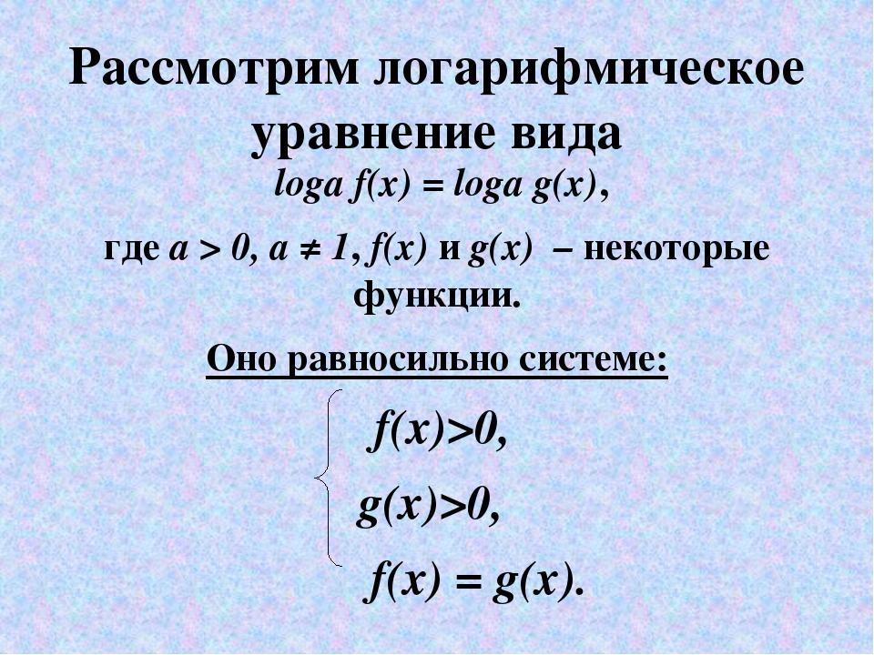 Рассмотрим логарифмическое уравнение вида loga f(x) = loga g(x), где a > 0, а...
