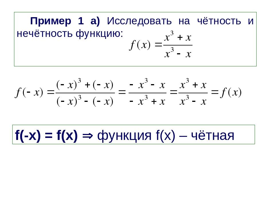 Пример 1 а) Исследовать на чётность и нечётность функцию: f(-x) = f(x)  функ...