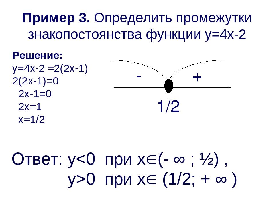 Пример 3. Определить промежутки знакопостоянства функции y=4x-2 Решение: y=4x...