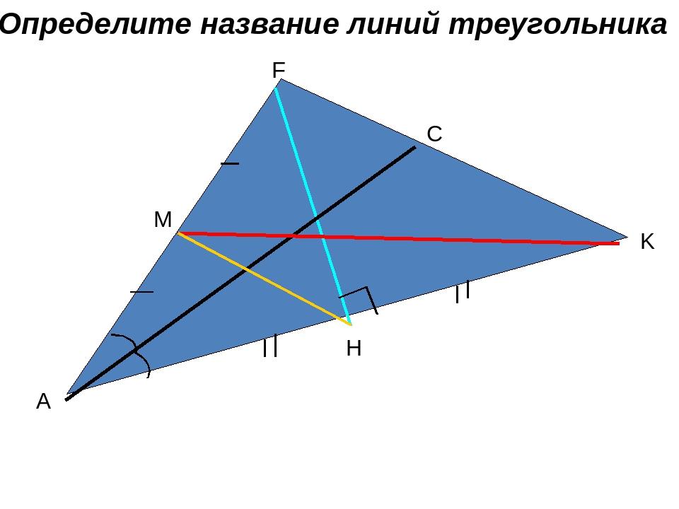 A F K M C H Определите название линий треугольника