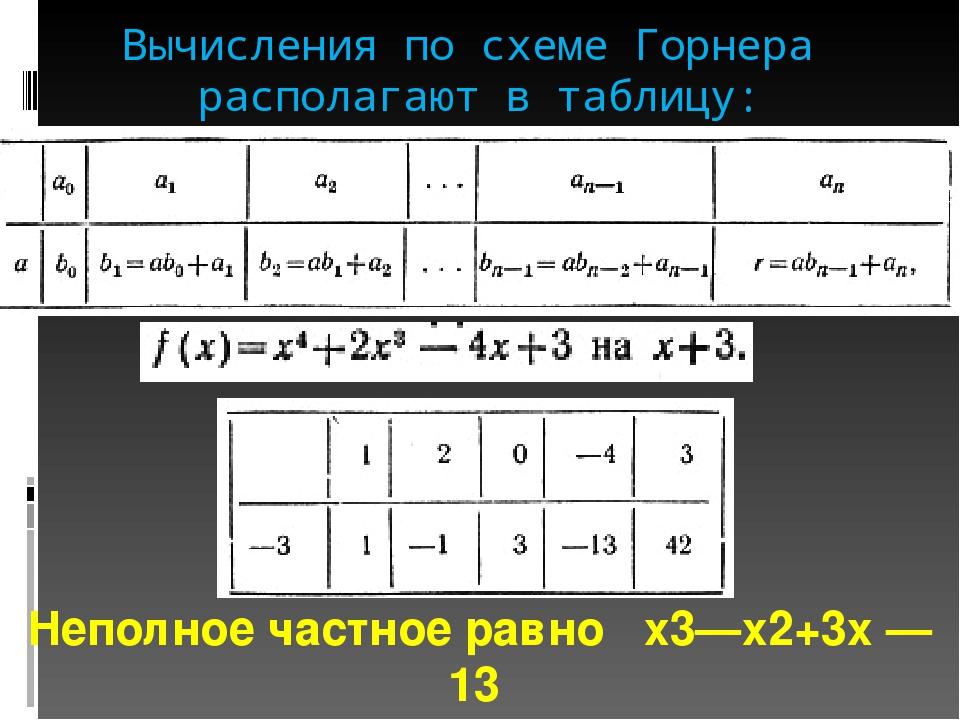 Вычисления по схеме Горнера располагают в таблицу: Неполное частное равно х3—...
