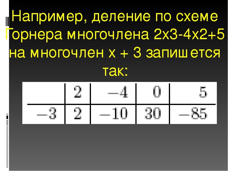 Например, деление по схеме Горнера многочлена 2x3-4x2+5 на многочлен x + 3 за...