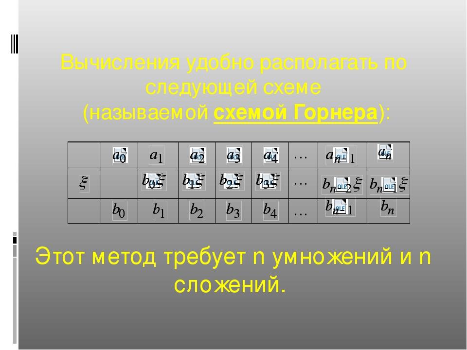 Вычисления удобно располагать по следующей схеме (называемой схемой Горнера):...