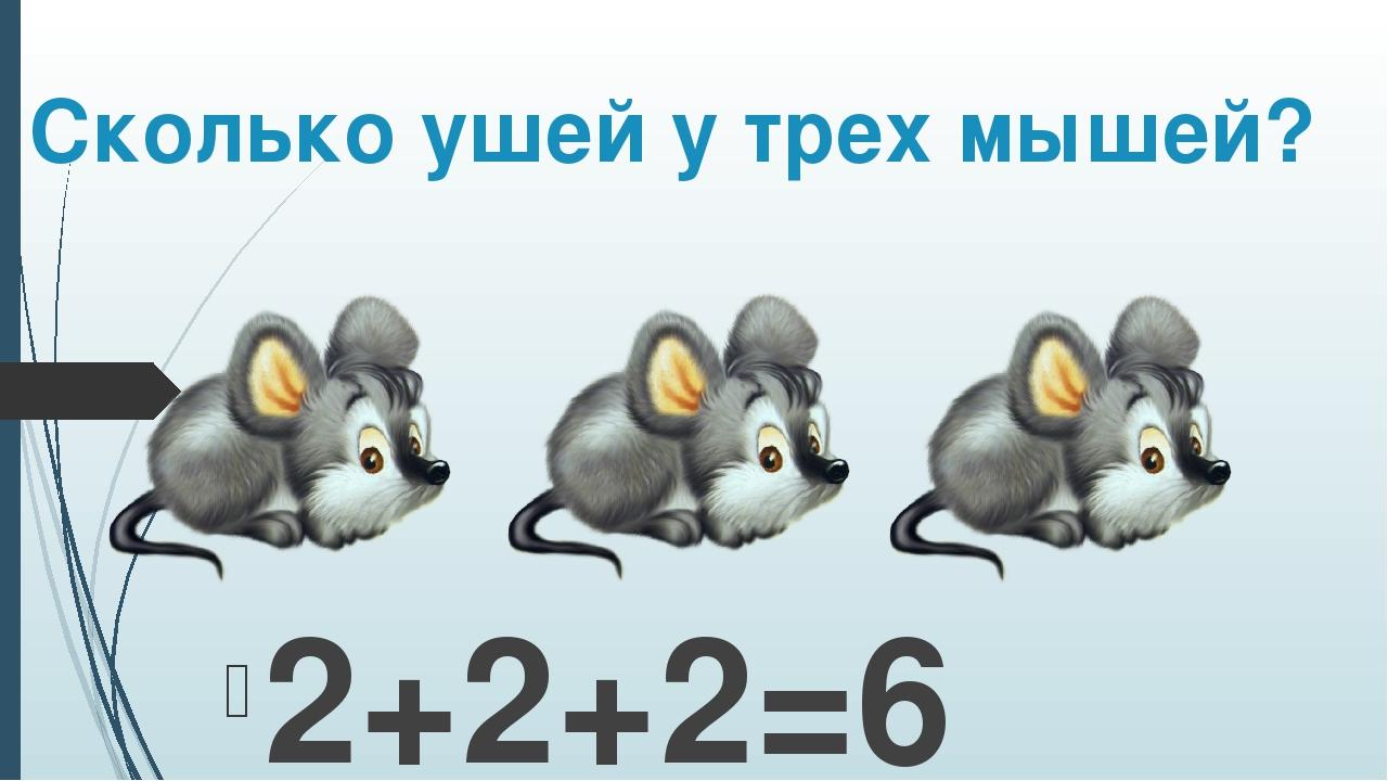 Сколько ушей у трех мышей? 2+2+2=6