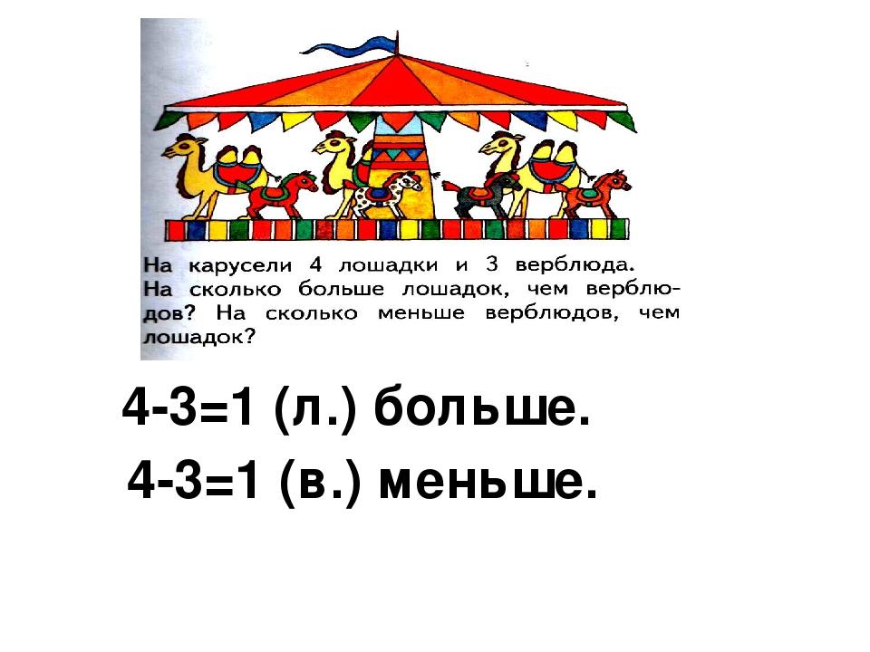 4-3=1 (л.) больше. 4-3=1 (в.) меньше.