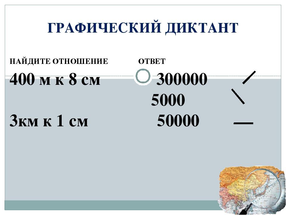 ГРАФИЧЕСКИЙ ДИКТАНТ НАЙДИТЕ ОТНОШЕНИЕ ОТВЕТ 400 м к 8 см 300000 5000 3км к 1...