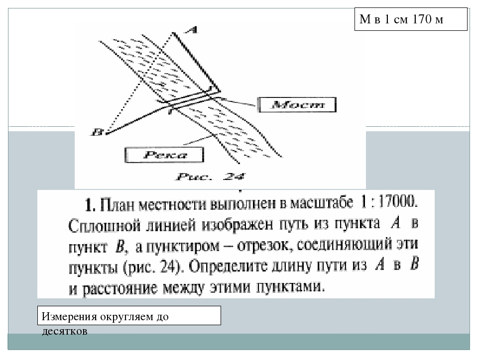 Измерения округляем до десятков М в 1 см 170 м