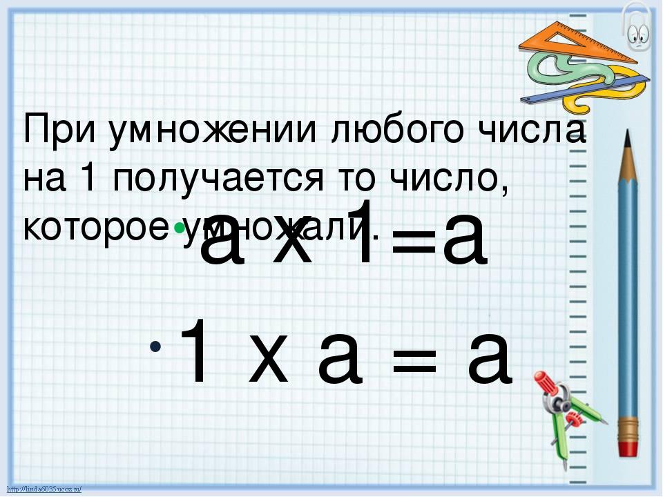 При умножении любого числа на 1 получается то число, которое умножали. а х 1=...