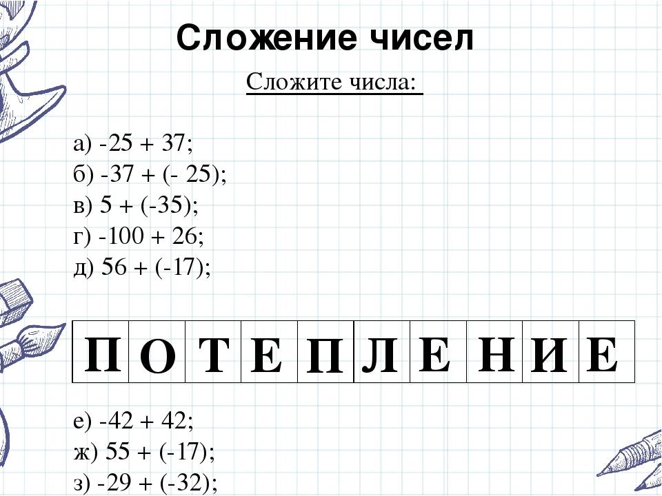 Сложение чисел Сложите числа: а) -25 + 37; б) -37 + (- 25); в) 5 + (-35); г)...