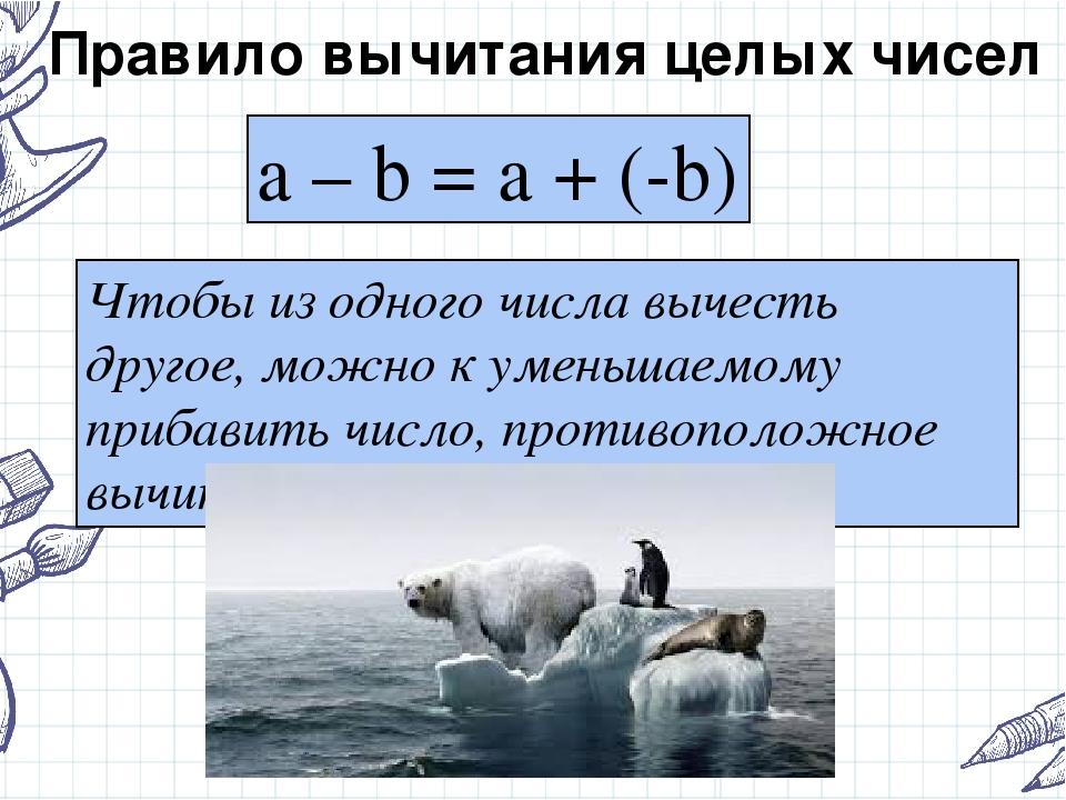 Правило вычитания целых чисел a – b = a + (-b) Чтобы из одного числа вычесть...