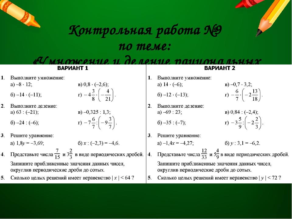 Контрольная работа №9 по теме: «Умножение и деление рациональных чисел»