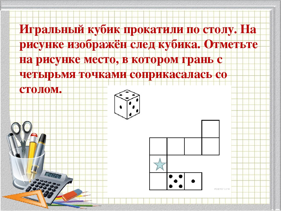 Игральный кубик прокатили по столу. На рисунке изображён след кубика. Отметьт...