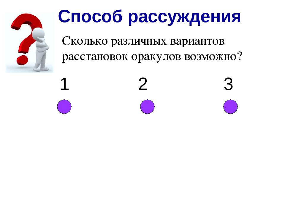 Способ рассуждения Сколько различных вариантов расстановок оракулов возможно?...