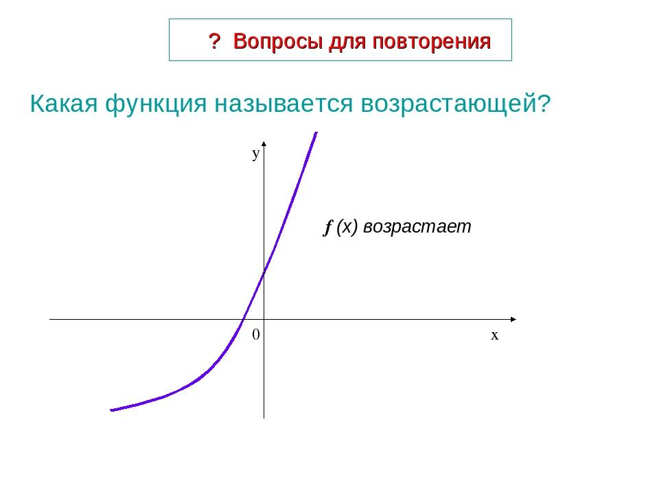 Какая функция называется возрастающей? ? Вопросы для повторения f (x) возрастает