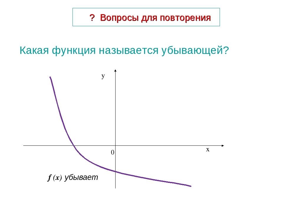 Какая функция называется убывающей? ? Вопросы для повторения f (x) убывает