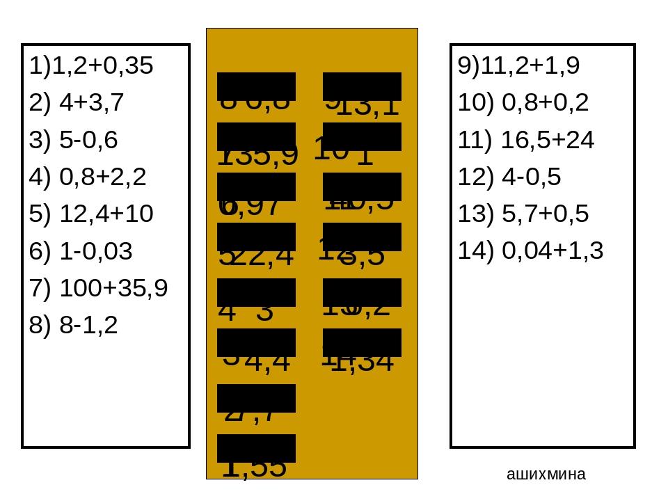 1)1,2+0,35 2) 4+3,7 3) 5-0,6 4) 0,8+2,2 5) 12,4+10 6) 1-0,03 7) 100+35,9 8) 8...