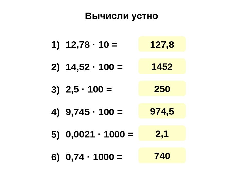 Вычисли устно 12,78 · 10 = 14,52 · 100 = 2,5 · 100 = 9,745 · 100 = 0,0021 · 1...