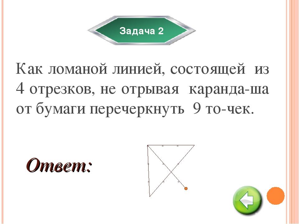Задача 2 Как ломаной линией, состоящей из 4 отрезков, не отрывая каранда-ша о...