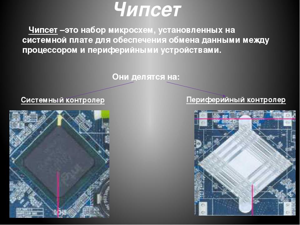 Чипсет Системный контролер Периферийный контролер Чипсет –это набор микросхем...