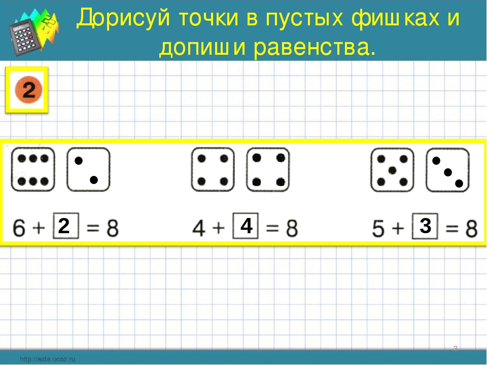 Дорисуй точки в пустых фишках и допиши равенства. * ● ● 2 ● 4 ● ● 3