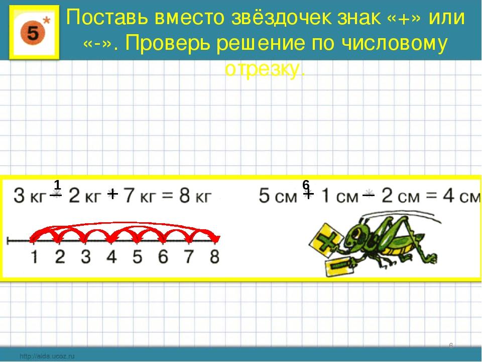 * Поставь вместо звёздочек знак «+» или «-». Проверь решение по числовому отр...