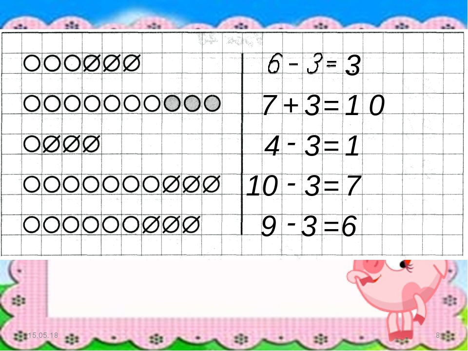 * * 3 7 + 3 = 1 0 4 - 3 = 1 10 3 = 7 - 9 - 3 = 6