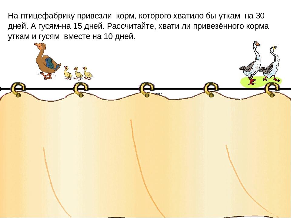 На птицефабрику привезли корм, которого хватило бы уткам на 30 дней. А гусям-...