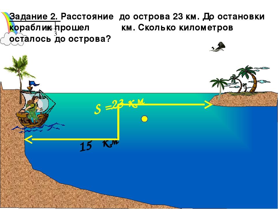 15 км Задание 2. Расстояние до острова 23 км. До остановки кораблик прошел к...