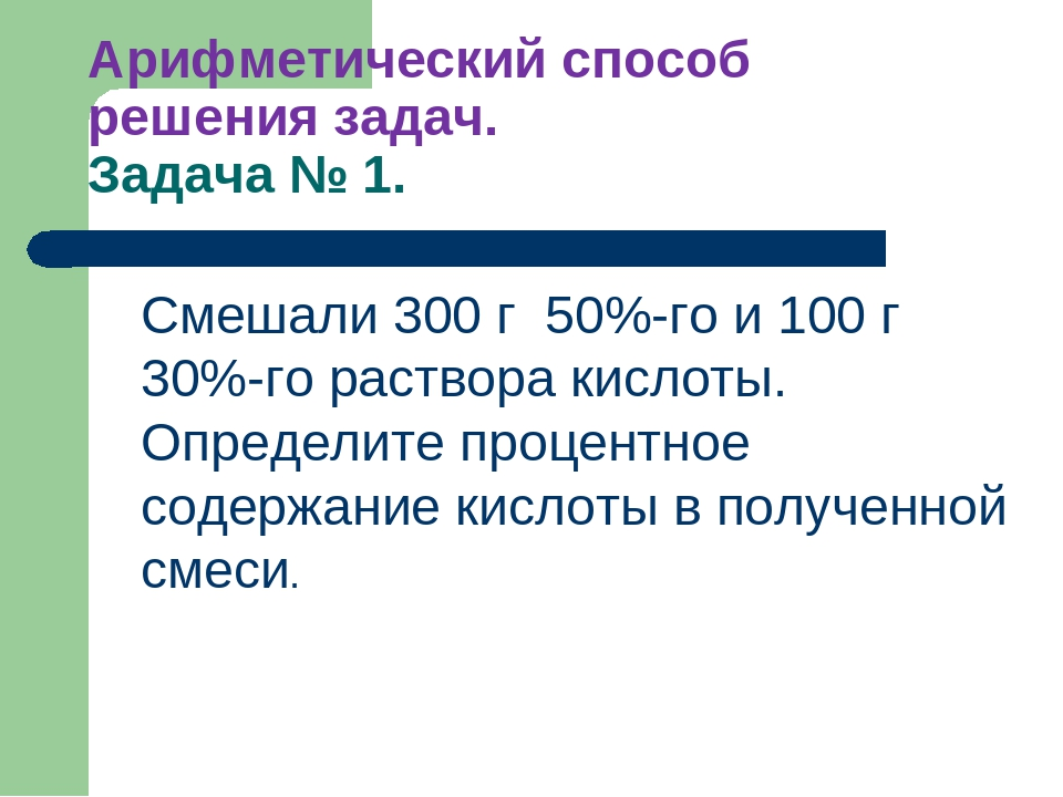 Арифметический способ решения задач. Задача № 1. Смешали 300 г 50%-го и 100 г...