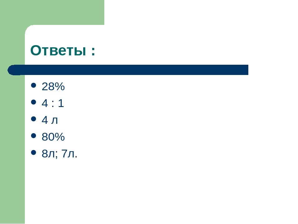 Ответы : 28% 4 : 1 4 л 80% 8л; 7л.