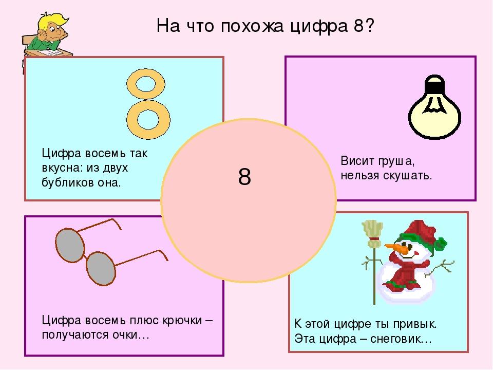 К этой цифре ты привык. Эта цифра – снеговик… 8 Висит груша, нельзя скушать....