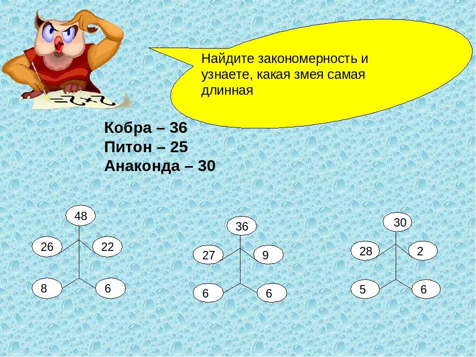 Кобра – 36 Питон – 25 Анаконда – 30 Найдите закономерность и узнаете, какая з...