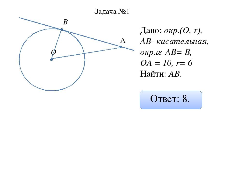 О А В Задача №1 Дано: окр.(О, r), АВ- касательная, окр.∩ АВ= В, ОА = 10, r= 6...