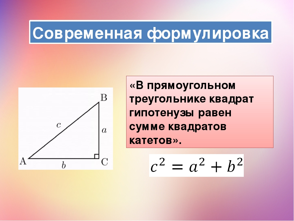 «В прямоугольном треугольнике квадрат гипотенузы равен сумме квадратов катето...