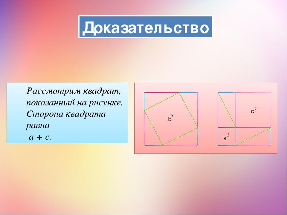 Доказательство Рассмотрим квадрат, показанный на рисунке. Сторона квадрата ра...
