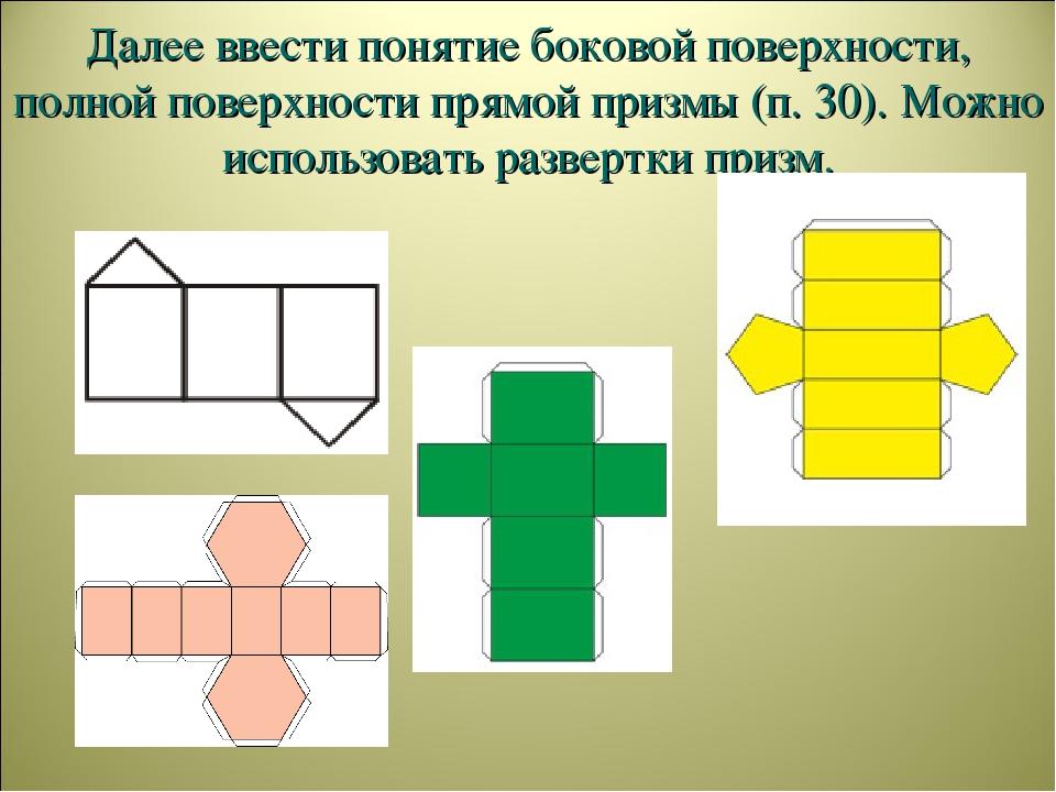 Далее ввести понятие боковой поверхности, полной поверхности прямой призмы (п...